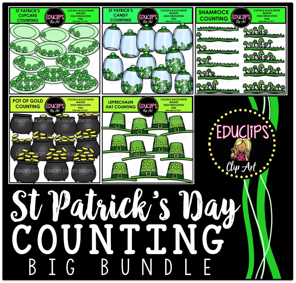st patrick u0027s counting clip art big bundle color and b u0026w
