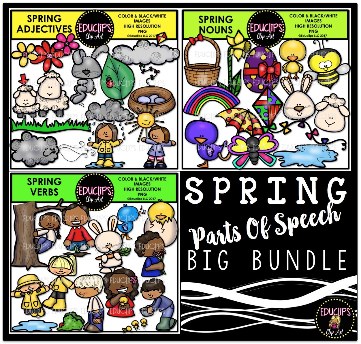 Color and art - Spring Parts Of Speech Clip Art Big Bundle Color And
