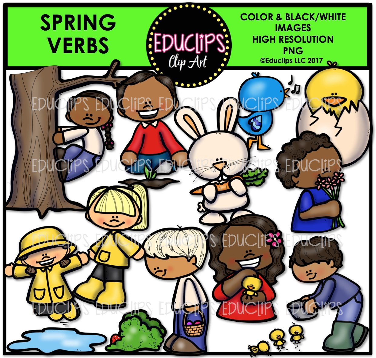 Color and art - Spring Parts Of Speech Clip Art Big Bundle Color And B W