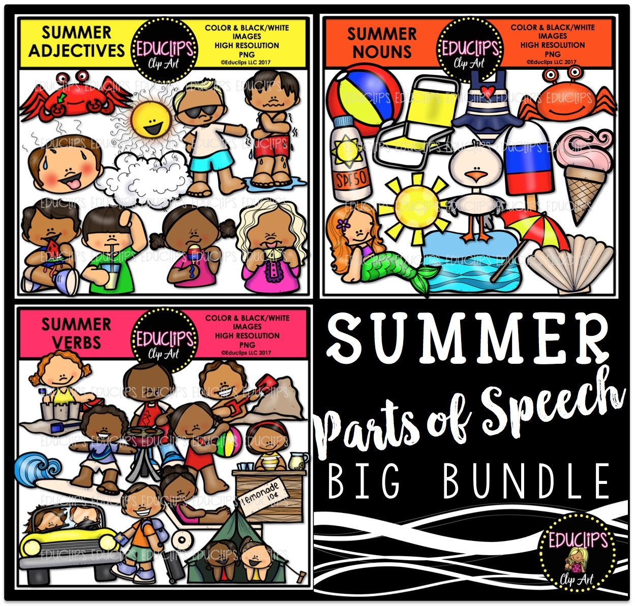 Color and art - Summer Parts Of Speech Clip Art Big Bundle Color And