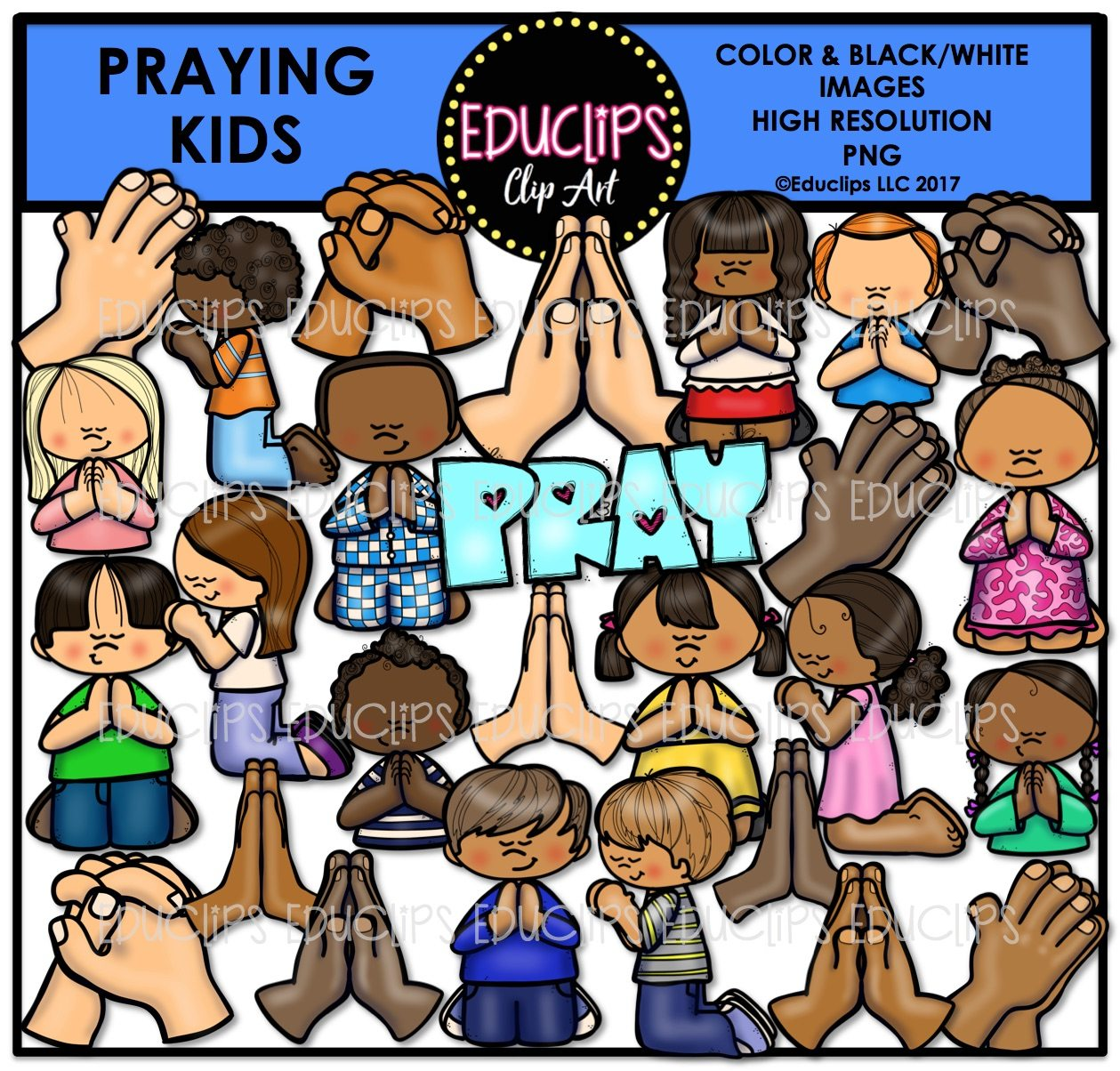praying kids clip art bundle color and bampw welcome to