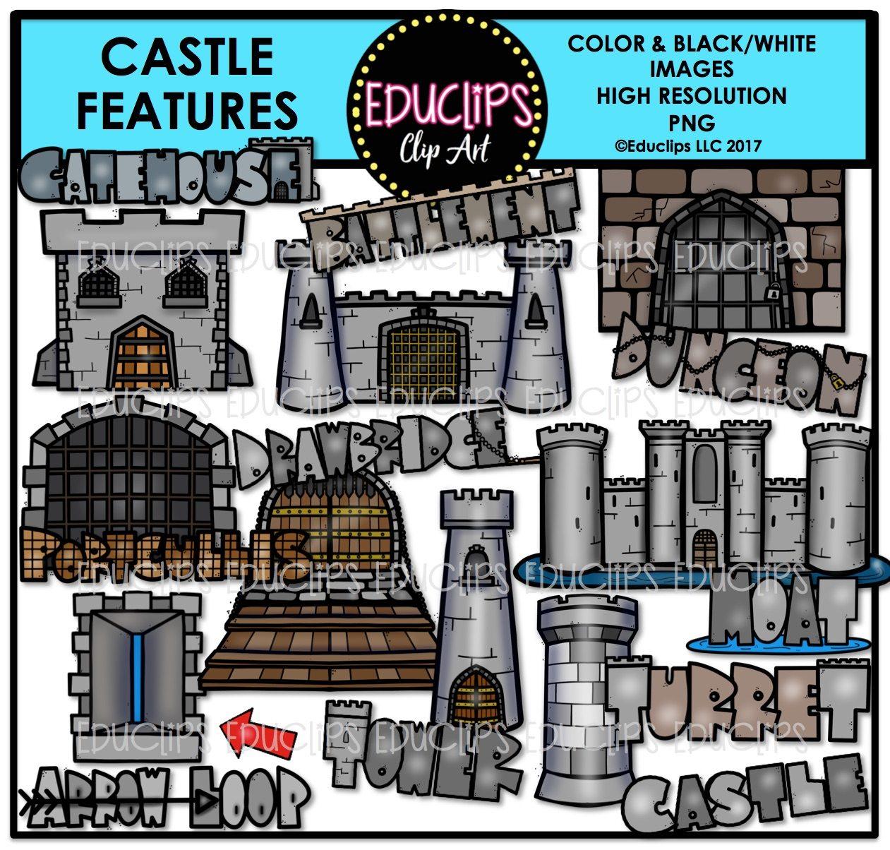 Castle Features Clip Art Bundle  Color And B U0026w