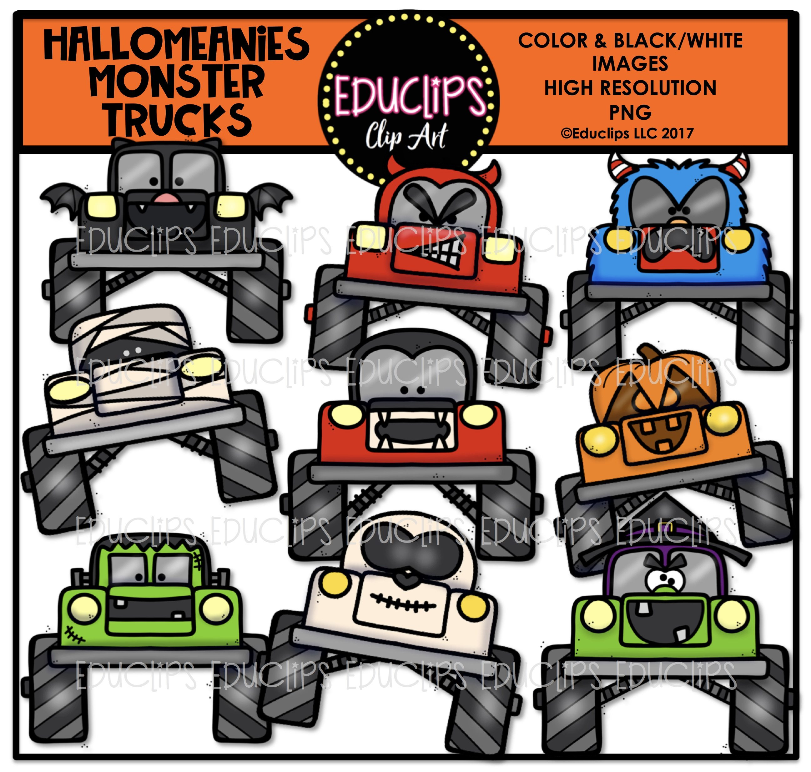 Color and art - Hallomeanies Monster Trucks Clip Art Bundle Color And