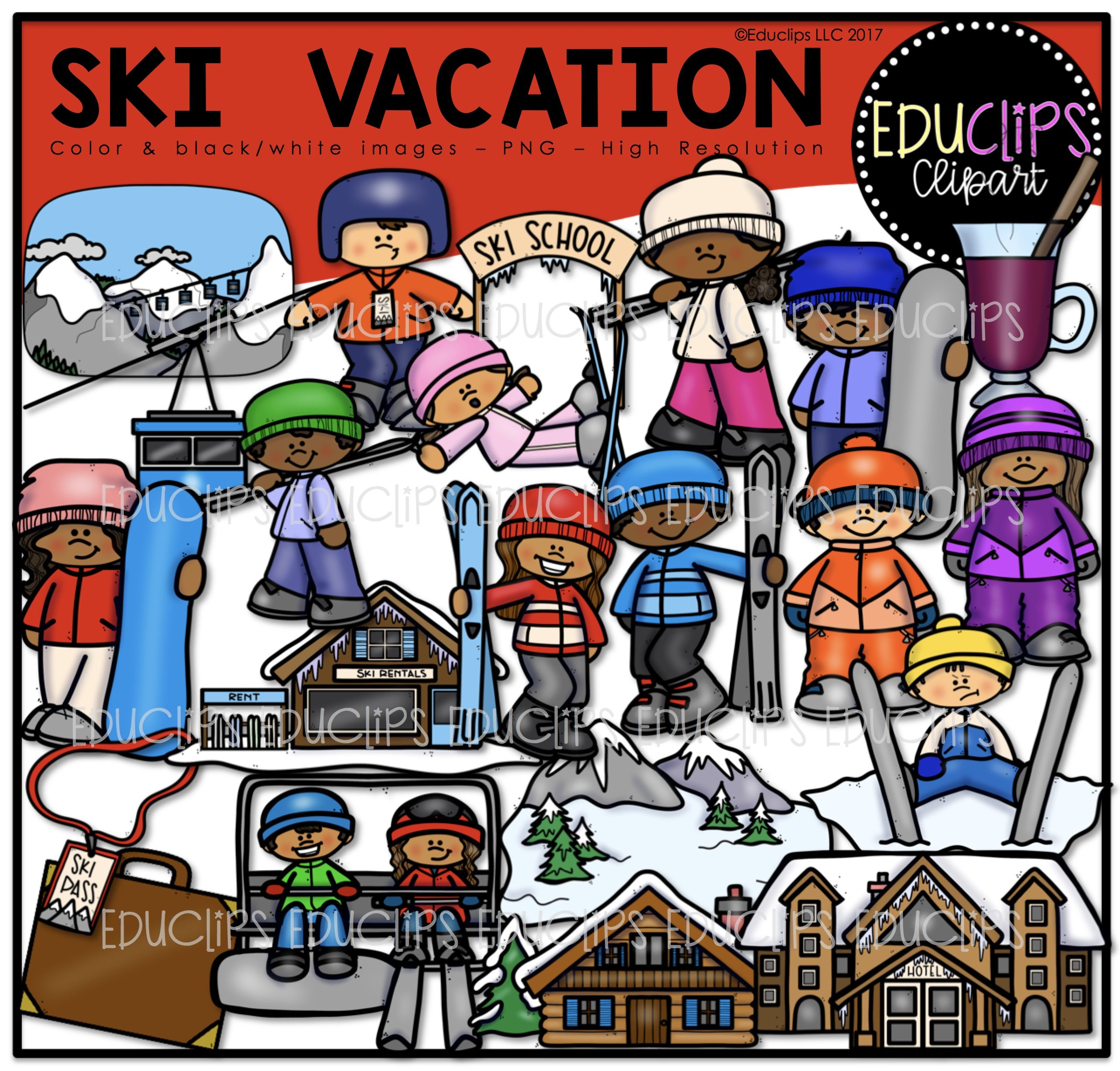 Color and art - Ski Vacation Clip Art Bundle Color And B W