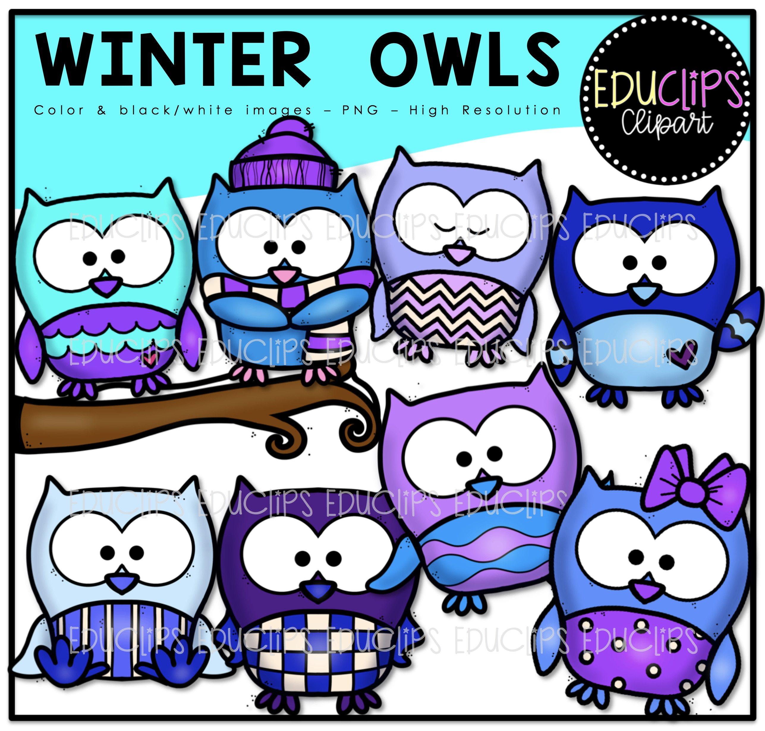 Color and art - Winter Owls Clip Art Bundle Color And B W