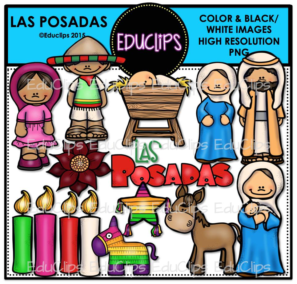 las posadas bundle  color and b w  welcome to educlips store Learning Is Fun Clip Art Math Symbols Clip Art