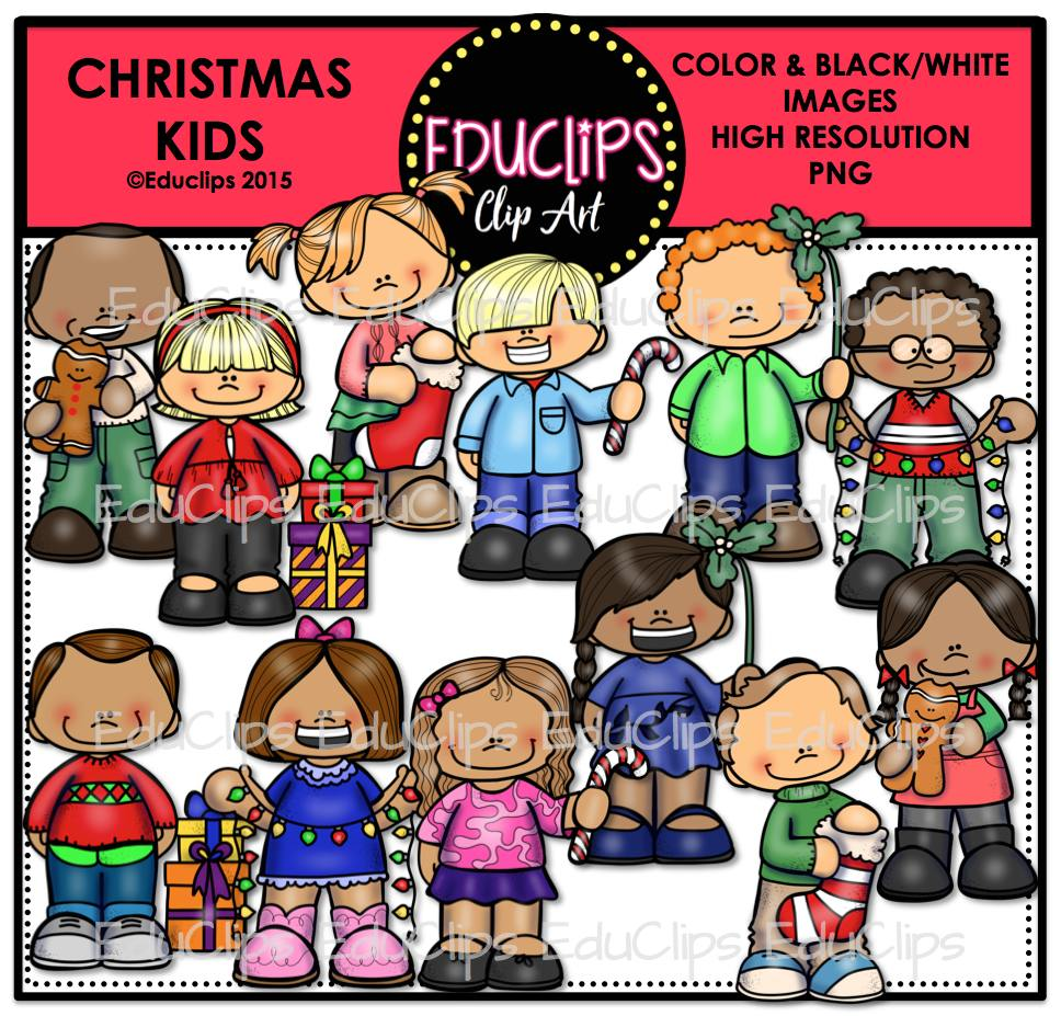 Christmas Kids Clip Art Bundle (Color and B&W) - Welcome to Educlips ...