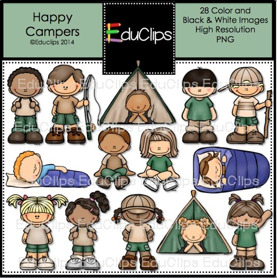Happy Campers Clip Art Bundle Color And BW
