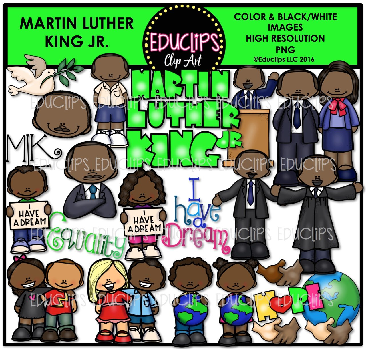 martin luther king jr clip art bundle color and b w welcome to