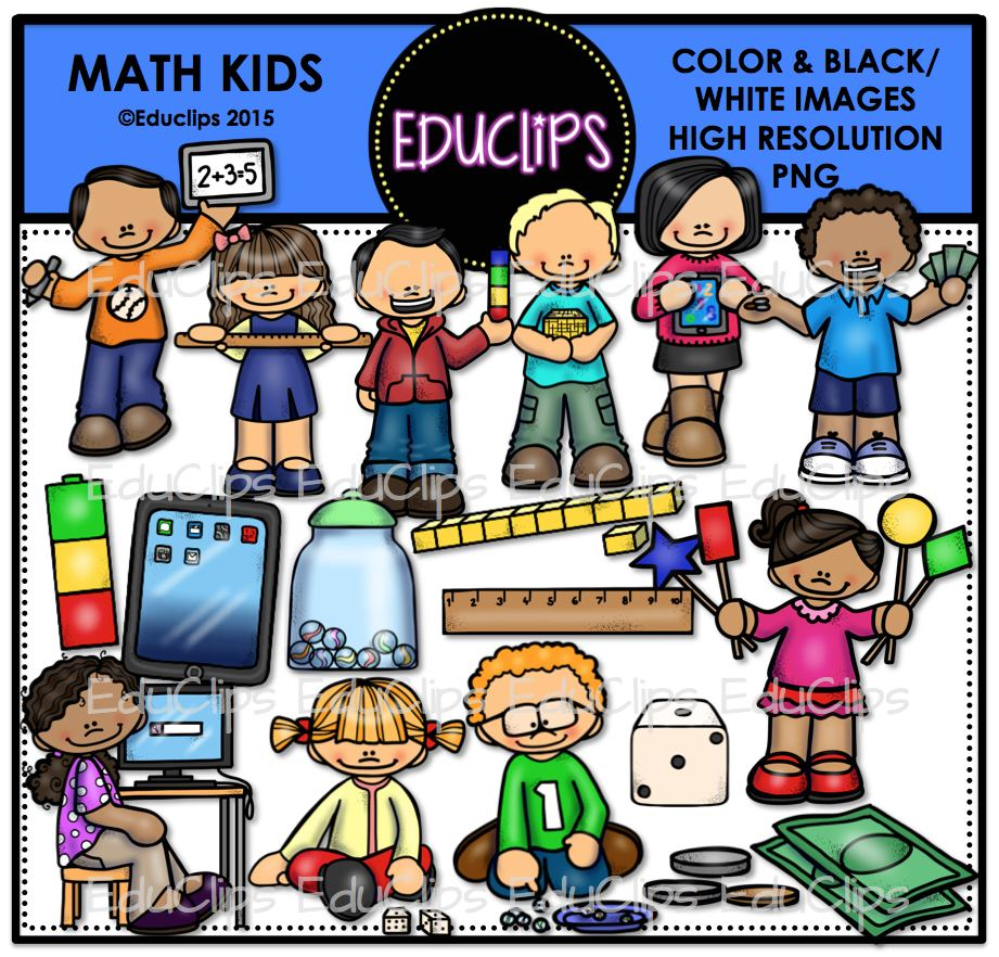 Math Kids Clip Art Bundle (Color and B&W) - Welcome to ...