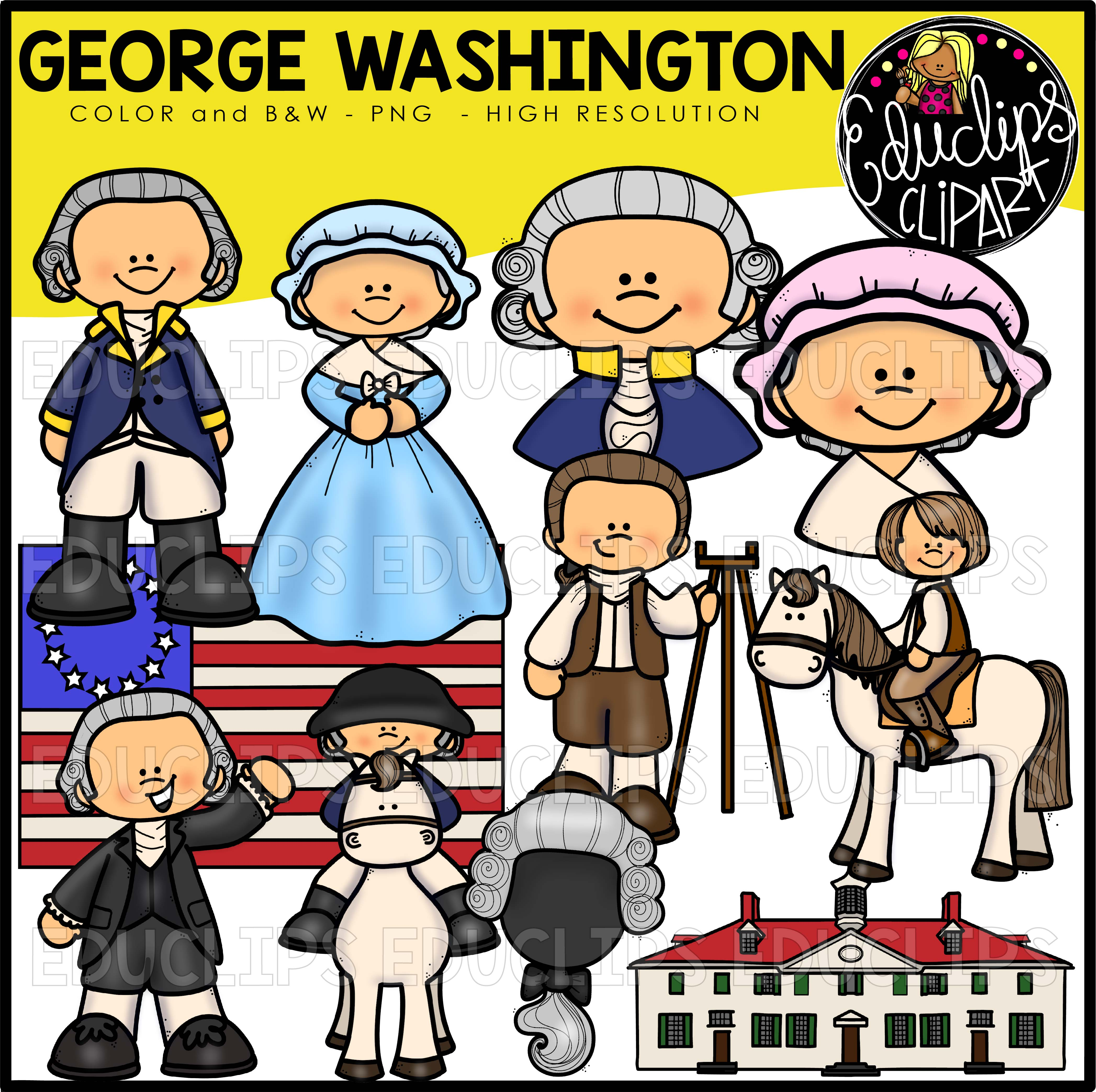 George Washington Clip Art Bundle (Color and B&W) - Welcome to ...