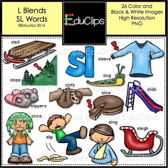 L Blends Sl Words Clip Art Bundle Color And Bw on Free Worksheets Phonics Christmas Math