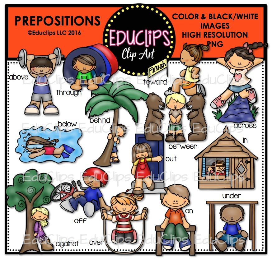 Prepositions Clip Art Bundle Color And BW