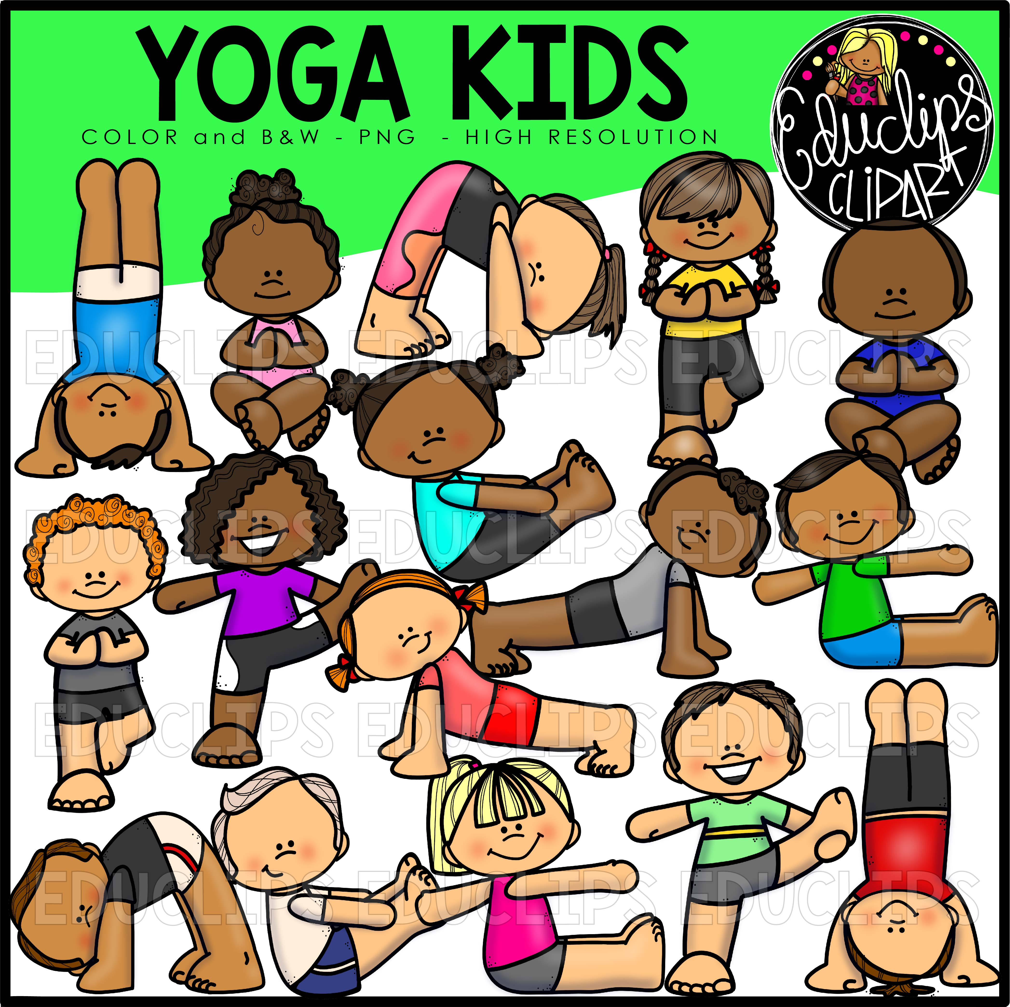 Yoga Fun Clip Art Bundle Color And BW