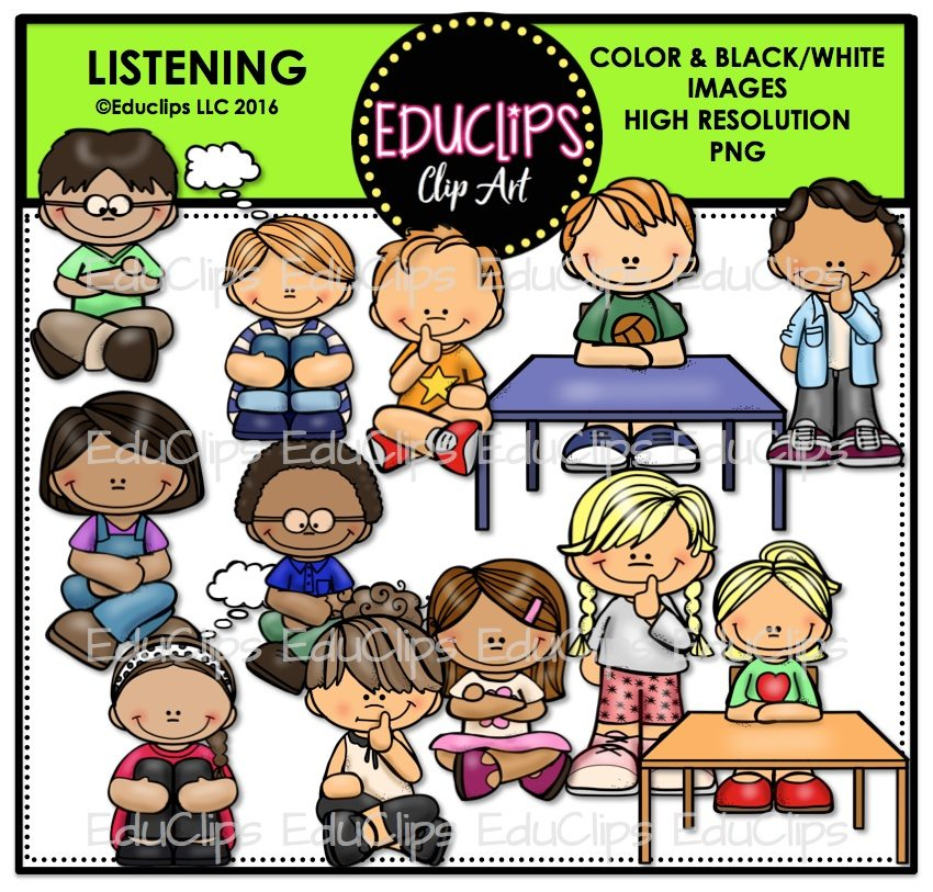 Listening on Zip Your Mouth Clip Art