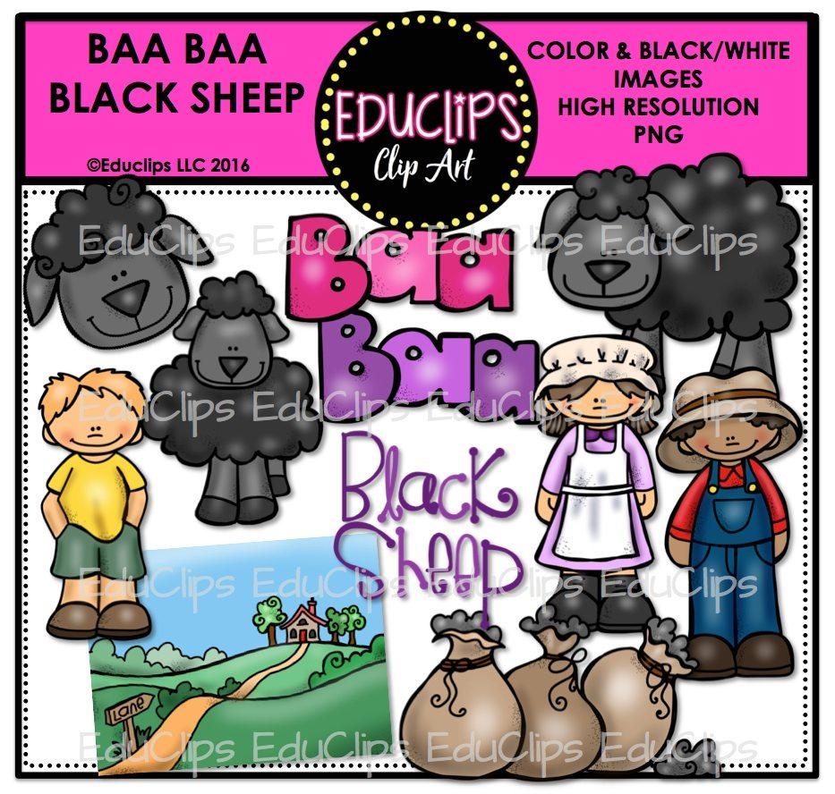 Baa Black Sheep Nursery Rhyme Clip Art Bundle Color And B W