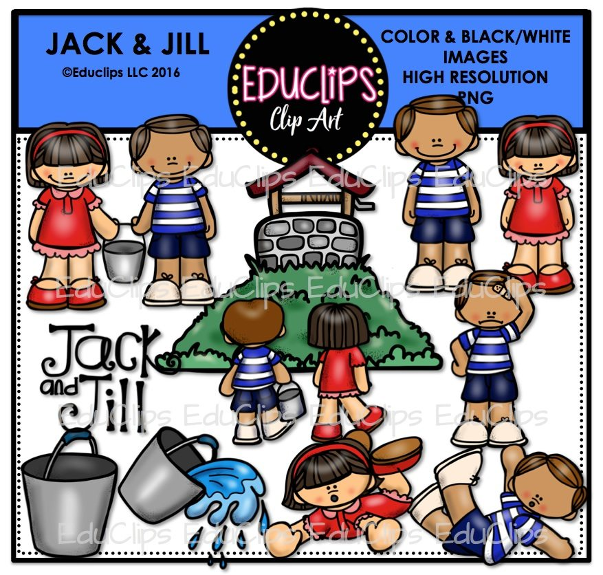 Jack And Jill Nursery Rhyme Clip Art Bundle Color B W Welcome To Educlips