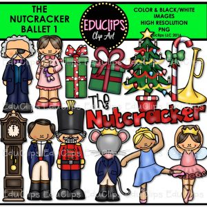 Nutcracker Christmas Tree Clipart.The Nutcracker Ballet Clip Art Bundle Color And B W