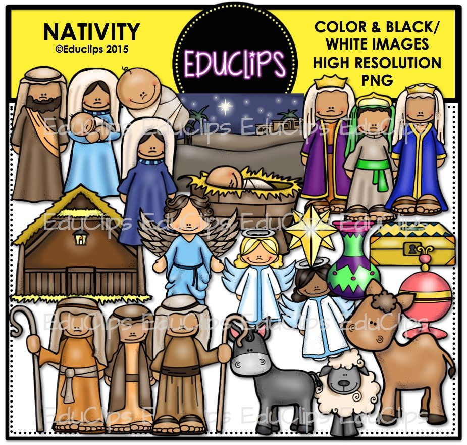 Nativity Clip Art Bundle Color And Bw-6749
