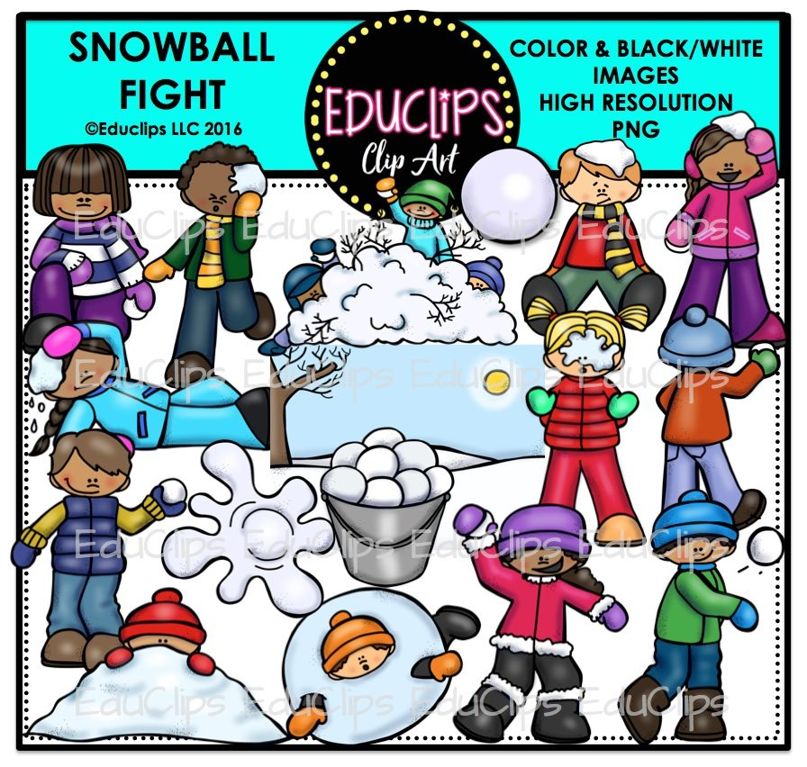 Snowball Fight Clip Art Bundle (Color and B&W)