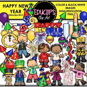 happy new year clip art bundle color and bw