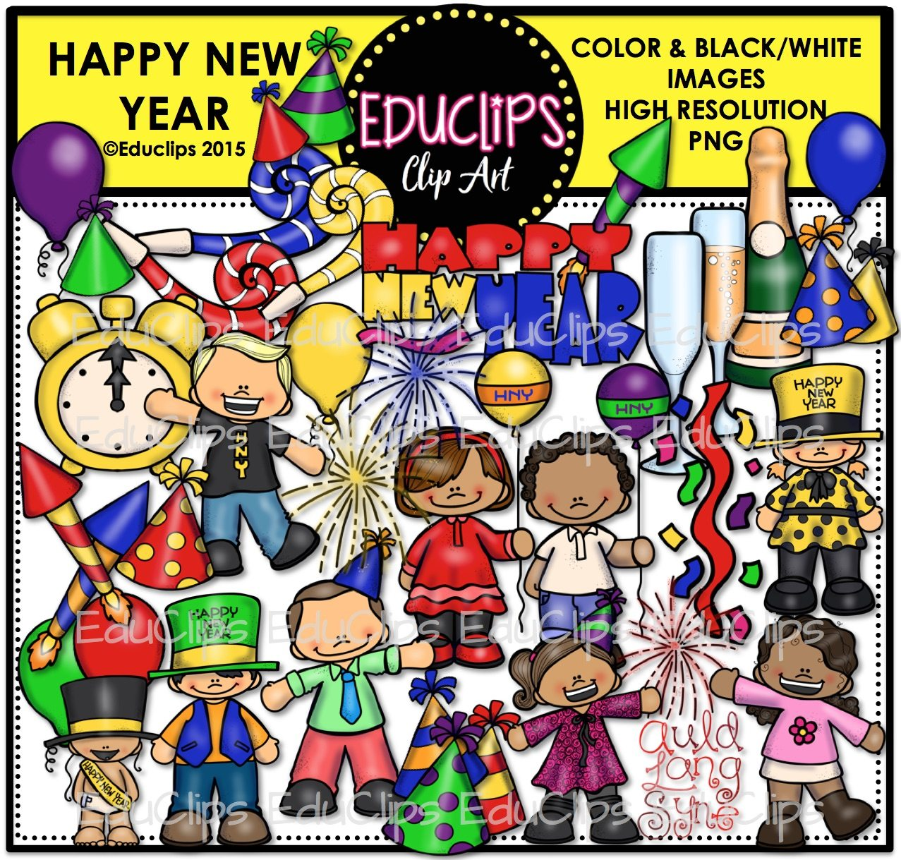 Happy New Year Clip Art Bundle (Color and B&W) - Edu Clips