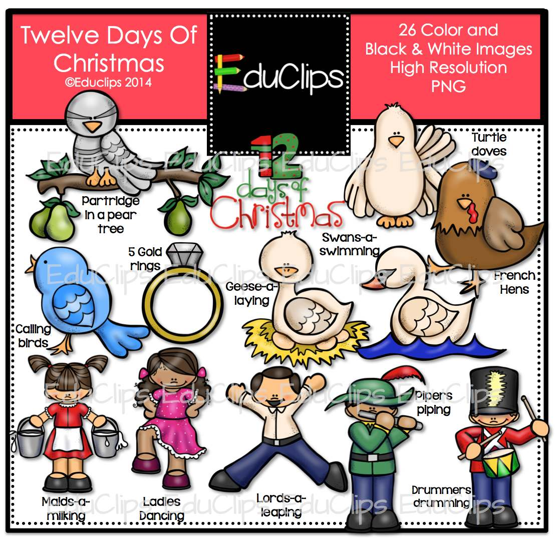 Twelve Days Of Christmas Clip Art Bundle Color And BampW