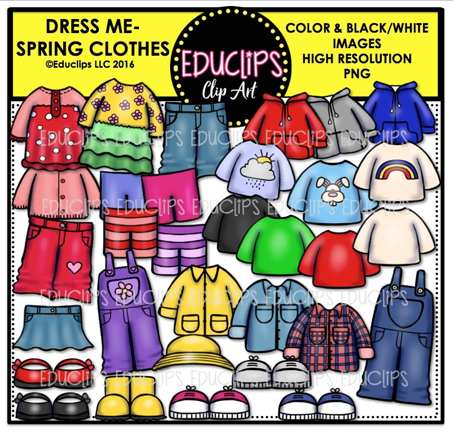dress me spring clothes clip art bundle color and bampw
