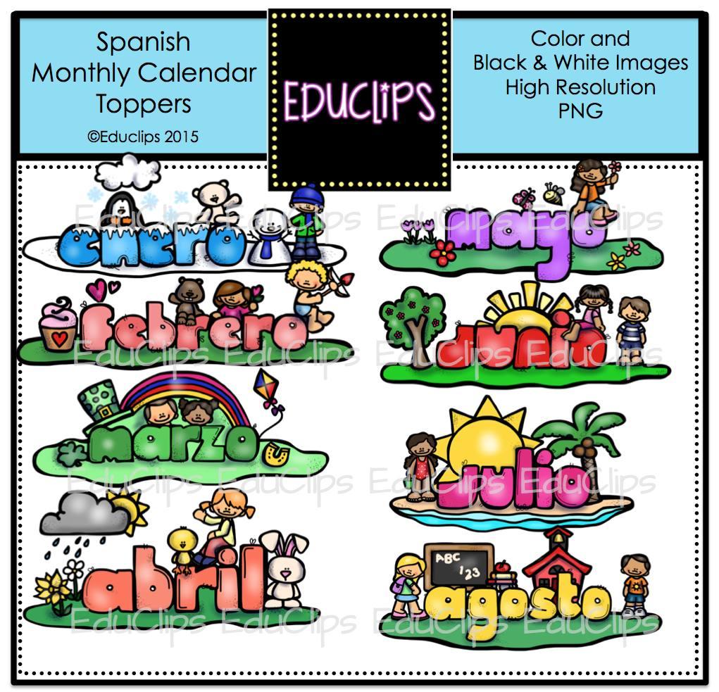 Spanish April Calendar : Spanish monthly calendar toppers clip art bundle color