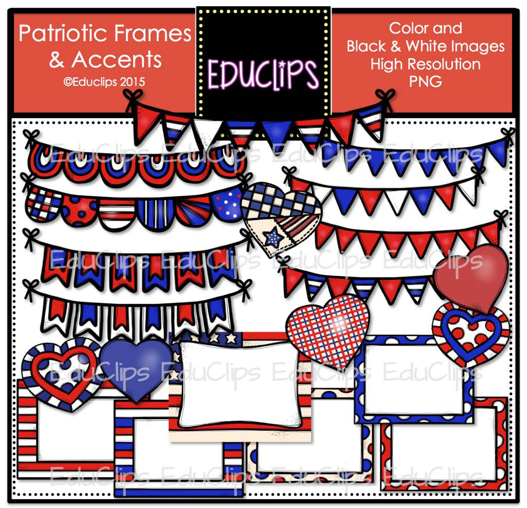 Patriotic Frames and Accents Clip Art Bundle (Color and B&W ...