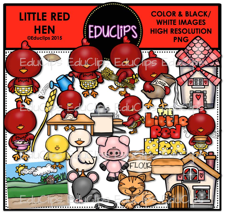 The Little Red Hen Clip Art Bundle Color And B W Welcome To
