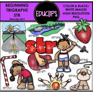 Beginning Trigraph Str Clip Art Bundle Color And B W