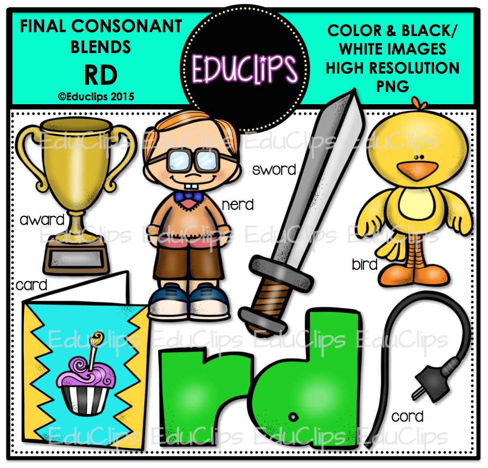 Final Consonant Blends R Clip Art Bundle Color And BW