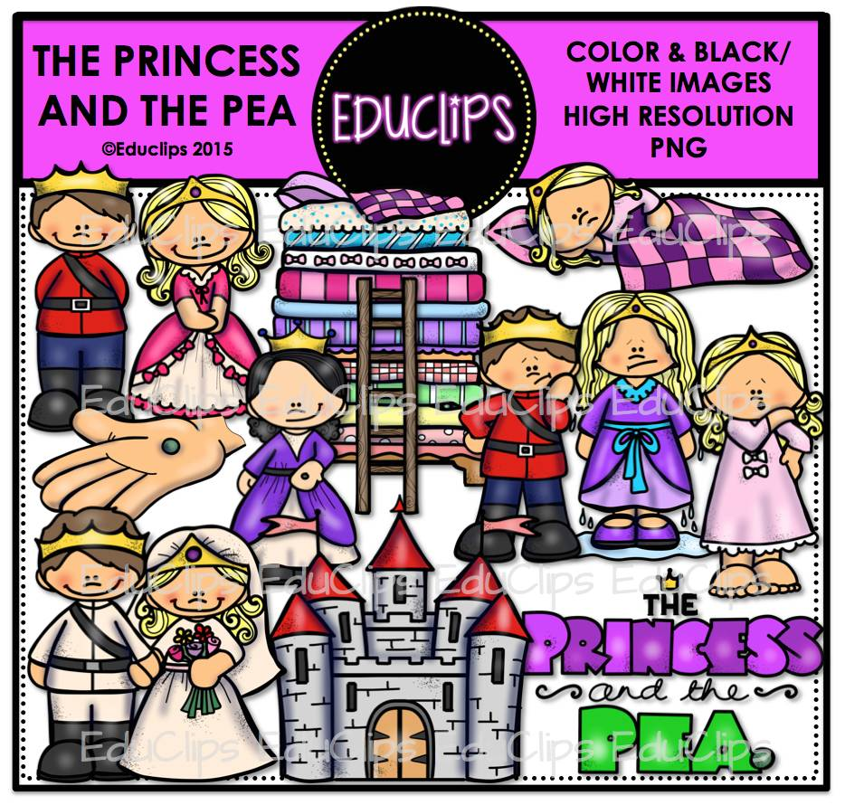The Princess And The Pea Clip Art Bundle Color And B Amp W