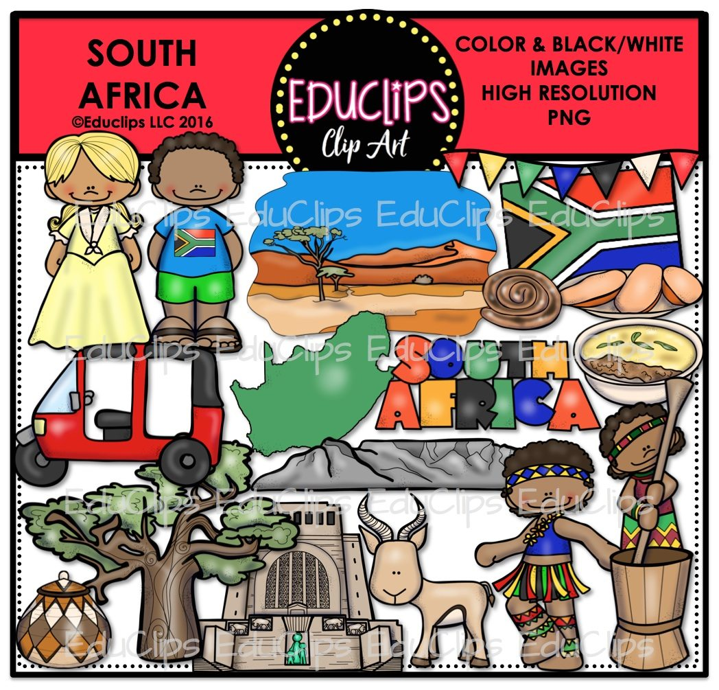 South Africa Clip Art Bundle Color And BampW Welcome To