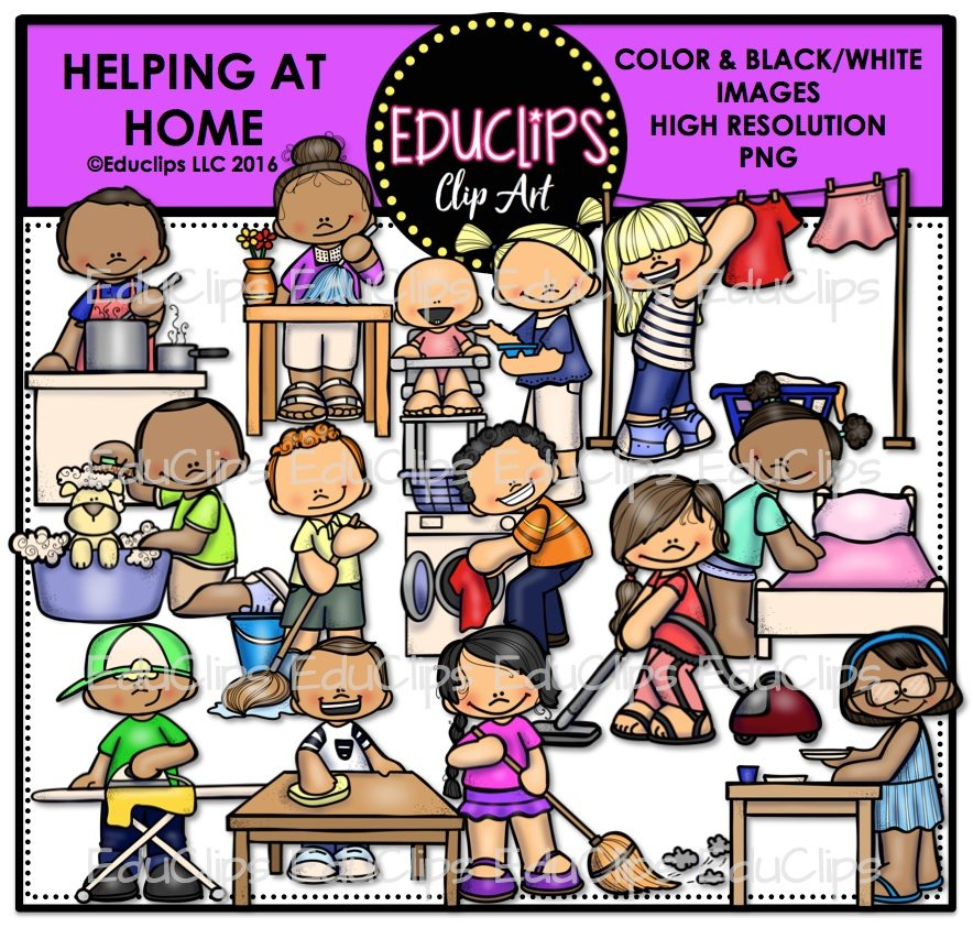 Helping At Home Clip Art Bundle Color And BampW Welcome