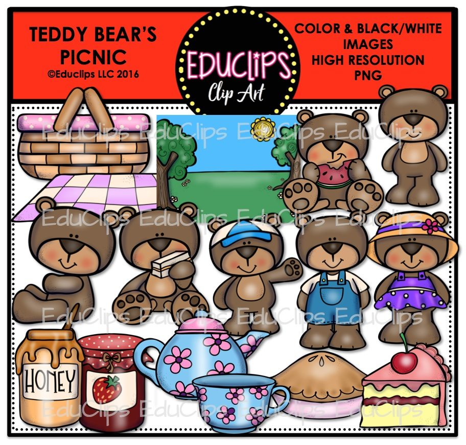 Teddy Bears Picnic Clip Art Bundle Color And Bw Welcome To