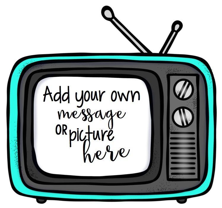 Colorful TV Frames Clip Art Bundle (Color and B&W) - Edu Clips