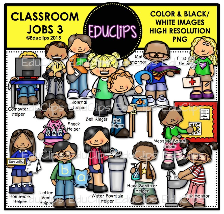 Line Drawing Jobs : Classroom jobs clip art bundle color and b w welcome