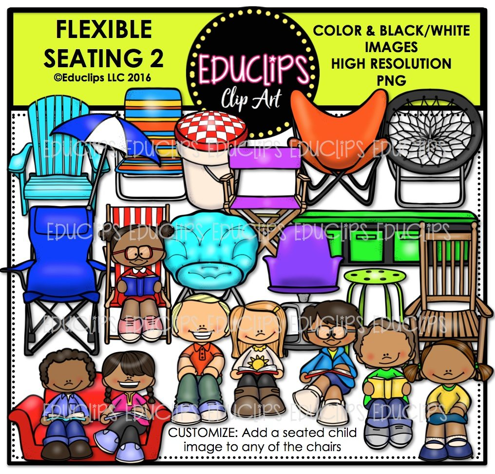 Flexible Seating 2 Clip Art Bundle (Color and B&W ...
