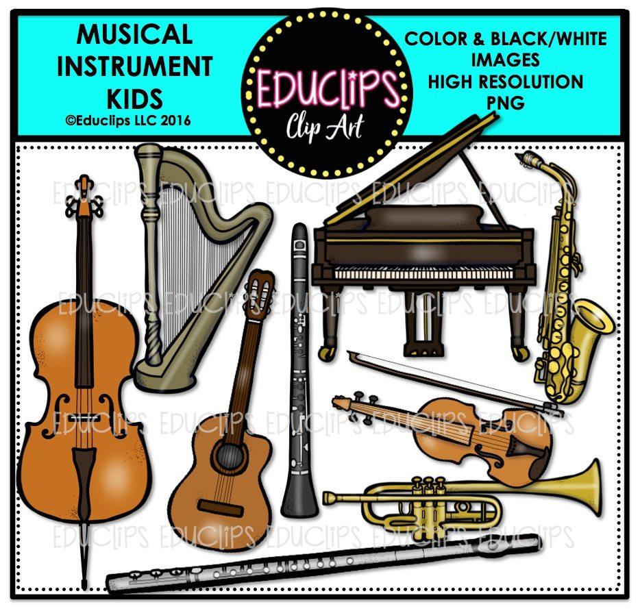 Musical Instrument Kids Clip Art Bundle (Color and B&W)
