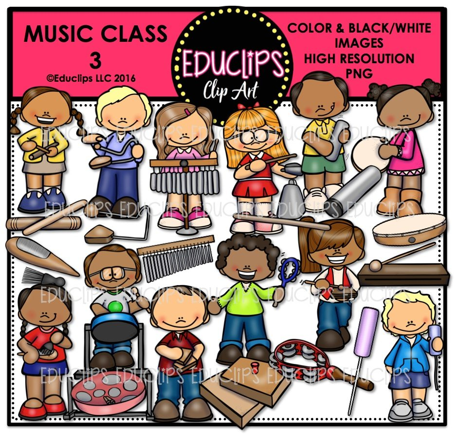 Music Class 3 Clip Art Bundle Color And BW