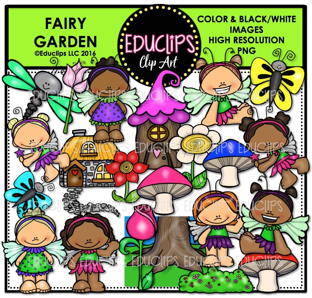 Fairy Garden Clip Art Bundle (Color and B\u0026W)