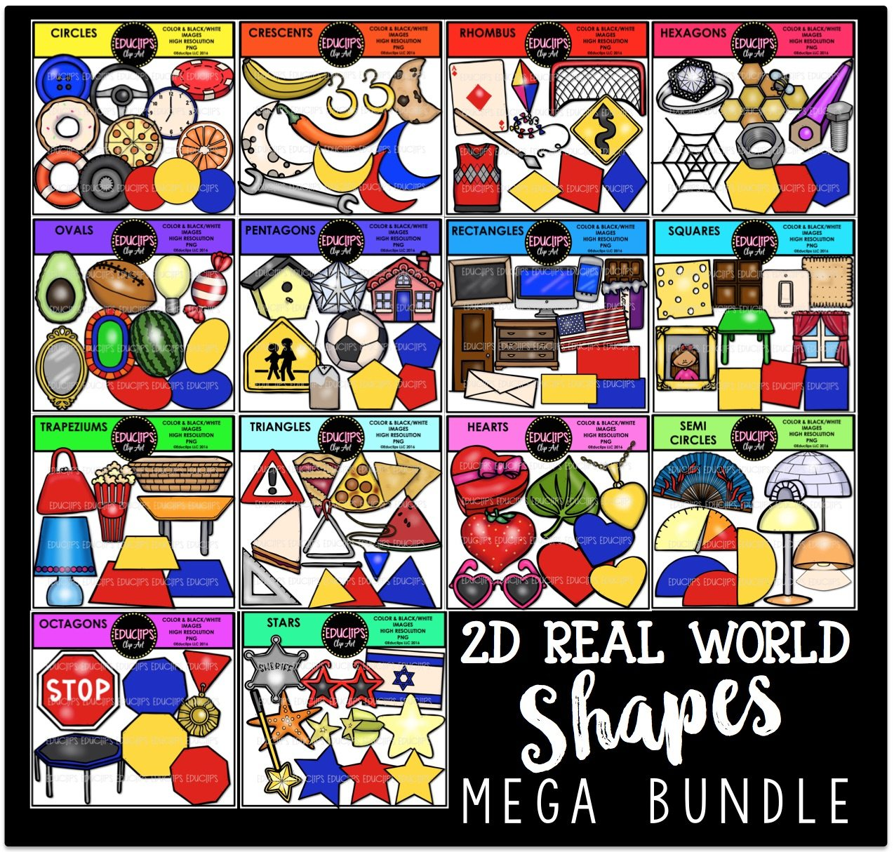 Cone In Real Life: 2D Real World Shapes Clip Art Mega Bundle (Color And B&W