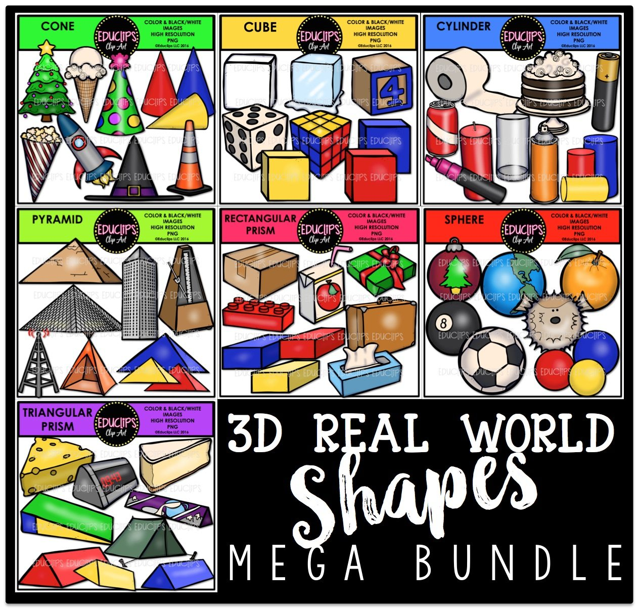 Cone In Real Life: 3D Real World Shapes Clip Art Bundle (Color And B&W