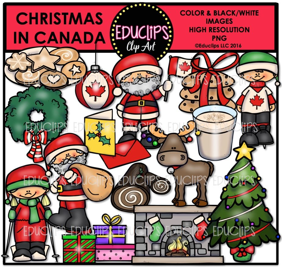 Christmas In Canada Clip Art Bundle Color And B W