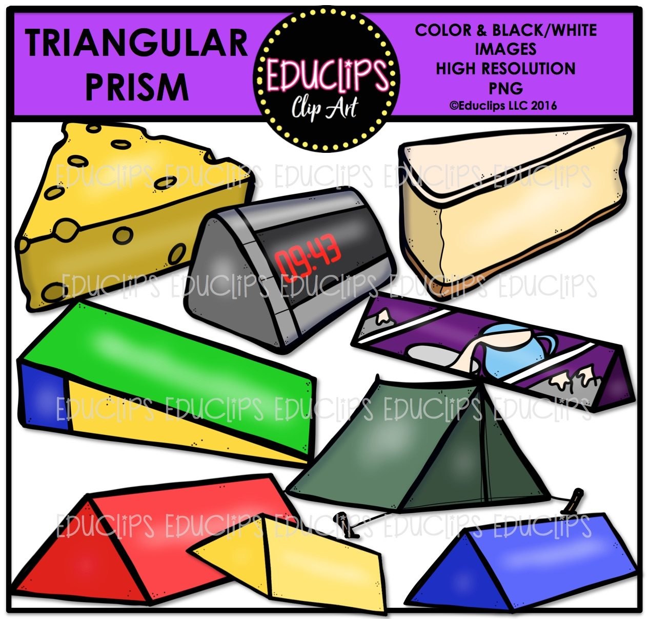 Rectangular Prism Real Life Examples: 3D Real World Shapes Clip Art Bundle (Color And B&W)