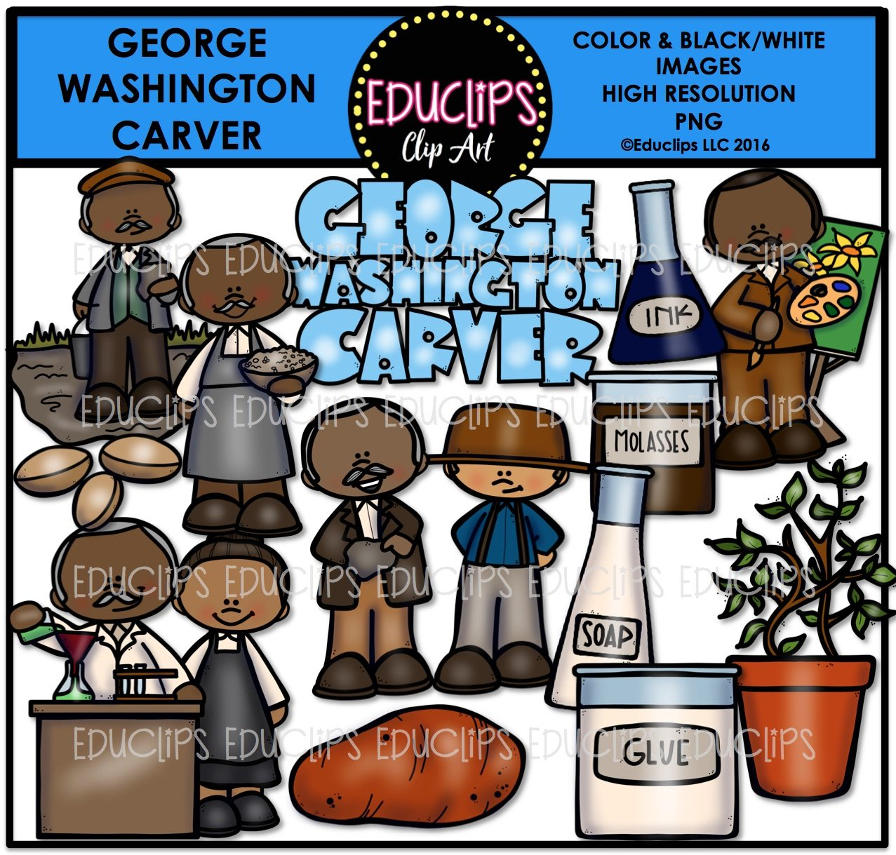 George Washington Carver Clip Art Bundle (Color and B&W) - Welcome ...