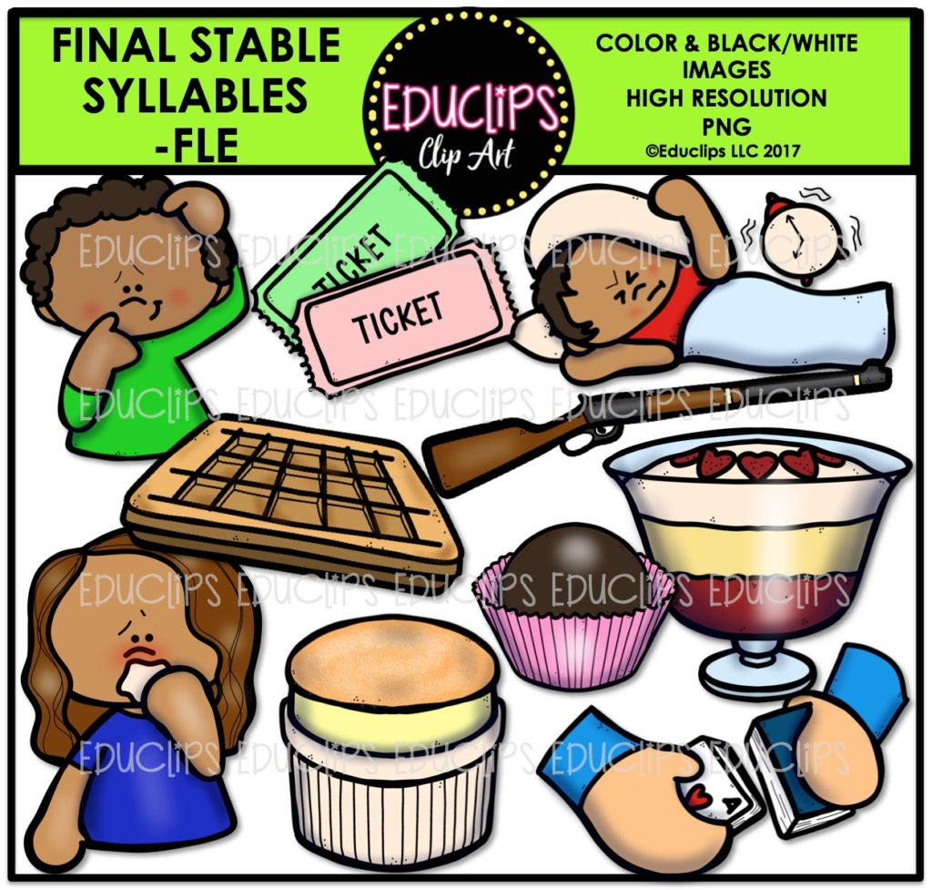 Final Stable Syllables -FLE (Color and B&W) - Edu Clips