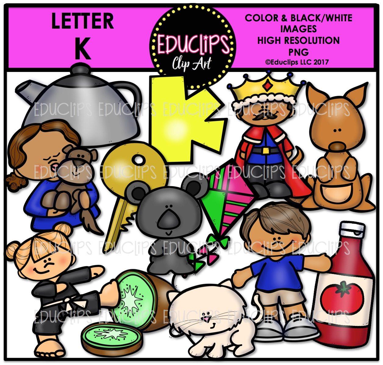 Letter K Clip Art Bundle (Color And B&W)